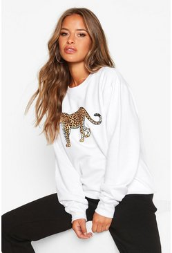 Womens White Petite Leopard Oversized Sweat Top
