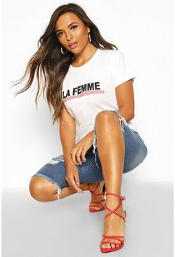 Womens White Petite 'La Femme' Slogan Oversized T-Shirt