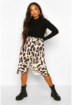 Womens Tan Petite Wrap Animal Print Skirt