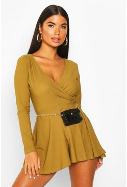 Olive Petite Long Sleeve Wrap Playsuit