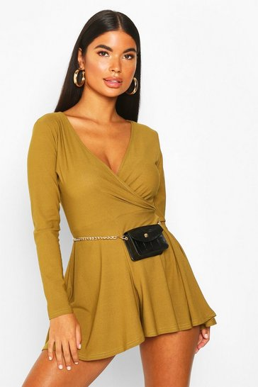 Womens Olive Petite Long Sleeve Wrap Playsuit