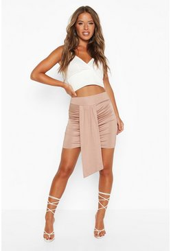 Womens Sand Petite Slinky Ruched Mini Skirt