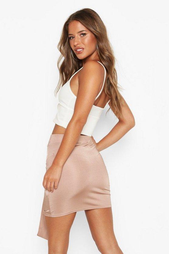 Petite Slinky Ruched Mini Skirt