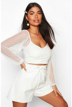 White Petite Dobby Mesh Solid Body Blouse