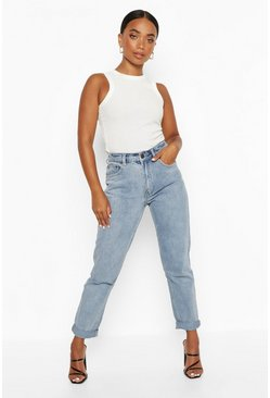 Blue Petite Rip Knee Turn Up Hem Mom Jean