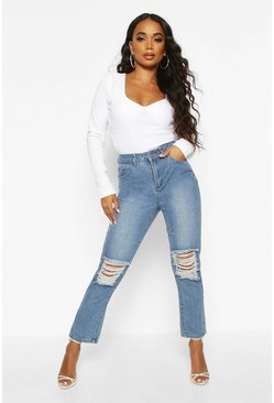 Womens Blue Petite Mid Wash Distressed Knee Mom Jean