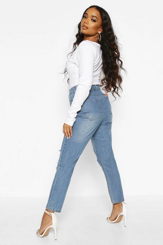 Petite Mid Wash Distressed Knee Mom Jean