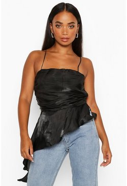 Black Petite Satin Shimmer Ruffle Ruched Cami