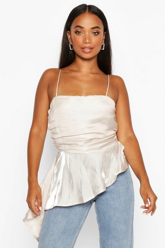 Womens Ivory Petite Satin Shimmer Ruffle Ruched Cami
