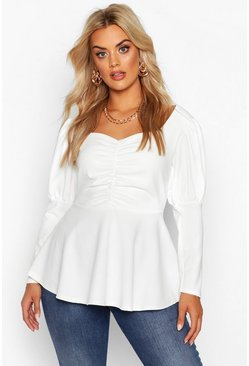 Ivory Plus Ruched Bust Puff Sleeve Peplum Top