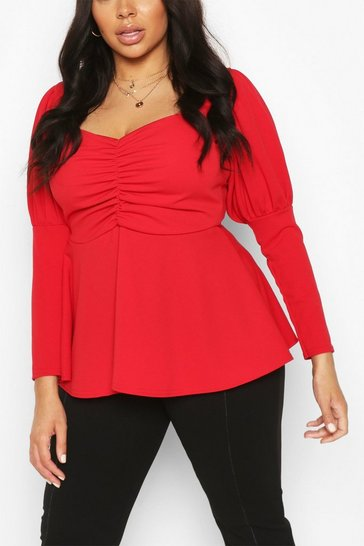 Red Plus Ruched Bust Puff Sleeve Peplum Top