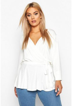 Ivory Plus Wrap Self Belt Peplum Top