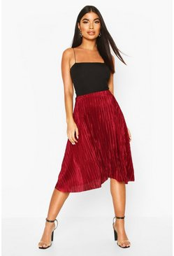 Berry Petite Pleated Plissé Midi Skirt