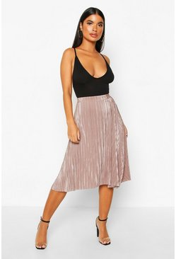 Womens Taupe Petite Pleated Plissé Midi Skirt