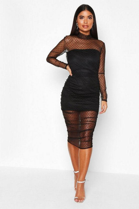 Black Petite Dobby Mesh High Neck Ruched Midi Dress