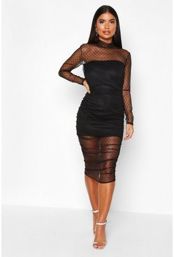 Womens Black Petite Dobby Mesh High Neck Ruched Midi Dress