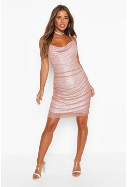 Dam Mauve Petite Mesh Ruched Detail Mini Dress