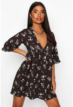 Womens Black Petite Floral Printed Smock Dress