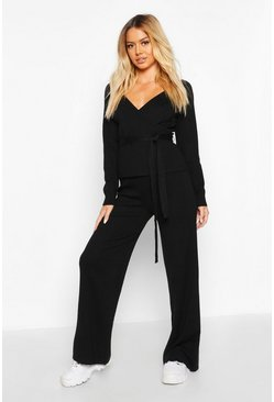 Womens Black Petite Knitted Wide Leg Trousers