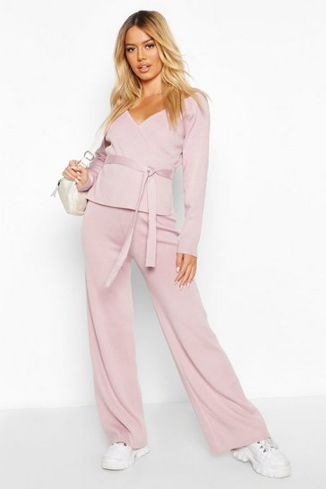 Rose Petite Knitted Wide Leg Trousers