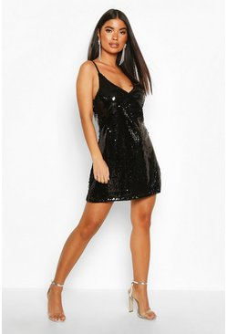 Black Petite Sequin Spaghetti Strap Slip Dress