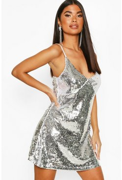 Silver Petite Sequin Spaghetti Strap Slip Dress