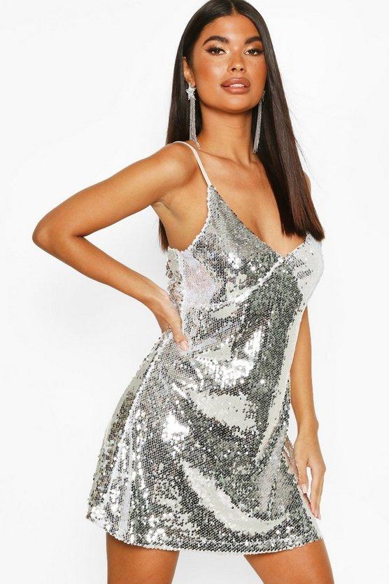 Petite Sequin Spaghetti Strap Slip Dress