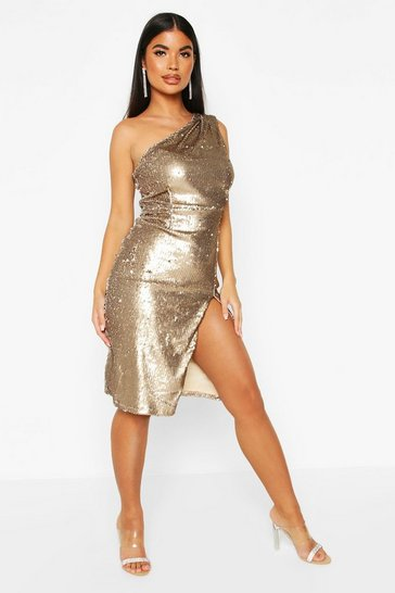 Gold Petite One Shoulder Sequin Midi Dress