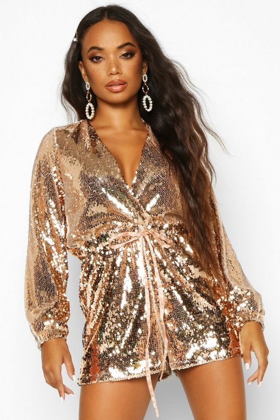 Rose gold Petite Sequin Plunge Playsuit