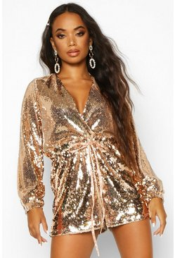 Womens Rose gold Petite Sequin Plunge Playsuit