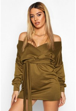 Womens Khaki Petite Off The Shoulder Belted Sweat Dress