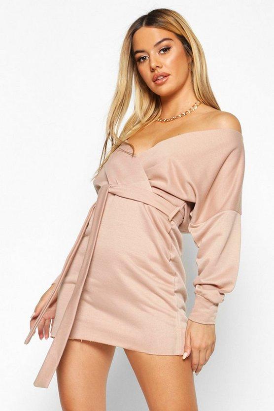Petite Off The Shoulder Belted Sweat Dress