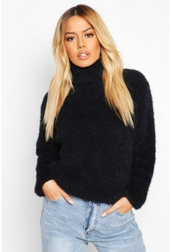 Womens Black Petite Fluffy Knit Roll Neck Jumper