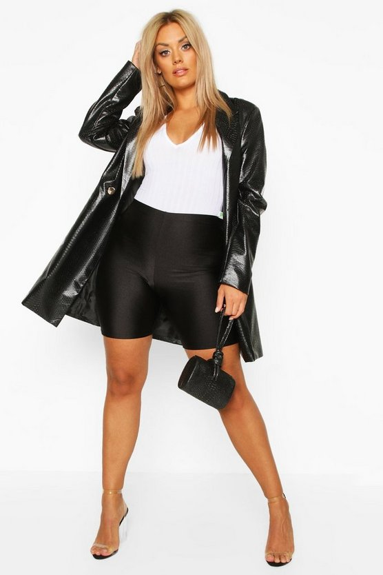 Plus High Shine Disco Cycling Shorts by Boohoo