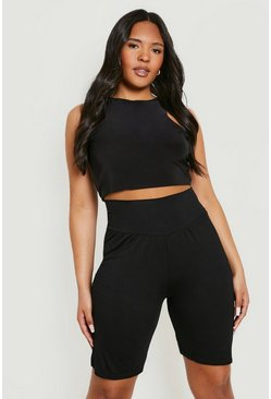 Womens Black Plus High Waist Sculpt Cycling Shorts