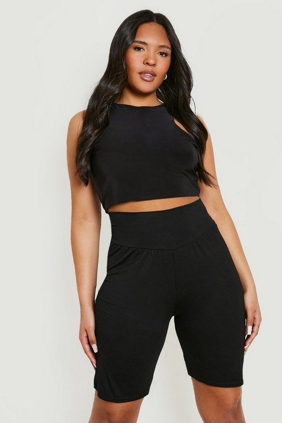 Plus High Waist Sculpt Cycling Shorts Plus High Waist Sculpt Cycling Shorts by Boohoo