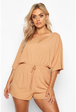 Camel Plus Wide Rib V Neck Playsuit