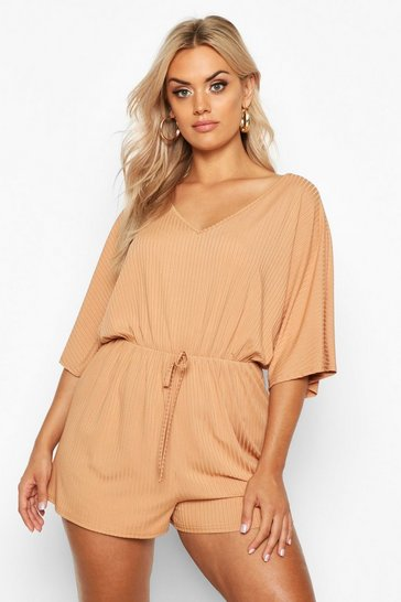 Womens Camel Plus Wide Rib V Neck Playsuit