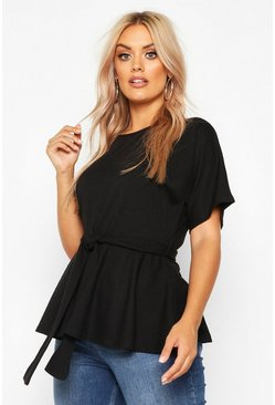 Black Plus Rib Self Belt Tie Top