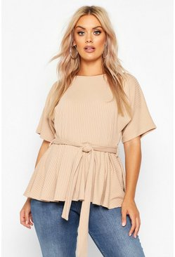 Sand Plus Rib Self Belt Tie Top