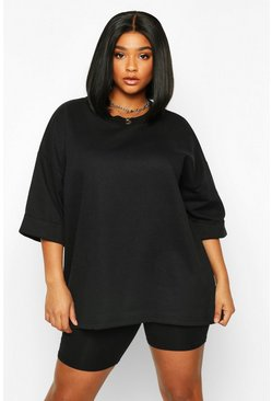 Black Plus Basic Turn Cuff Boxy Sweat