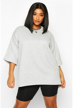 Womens Grey marl Plus Basic Turn Cuff Boxy Sweat