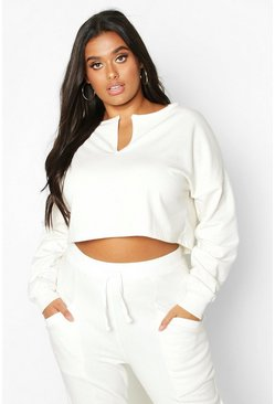 Womens Ecru Plus Basic V Neck Plunge Crop Sweat
