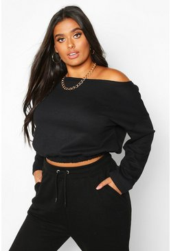 Dam Black Plus Basic Slash Neck Drop Shoulder Sweat