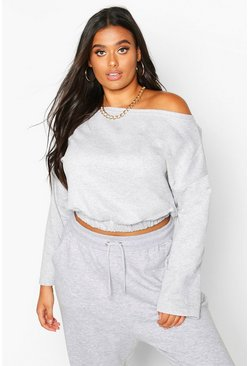 Womens Grey marl Plus Basic Slash Neck Drop Shoulder Sweat