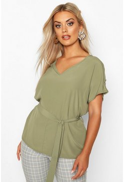 Khaki Plus V Neck Tie Waist Button Shoulder Woven Blouse