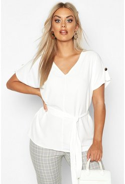 Womens White Plus V Neck Tie Waist Button Shoulder Woven Blouse