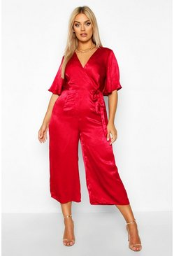 Berry Plus Satin Wrap Angel Sleeve Cullotte Jumpsuit
