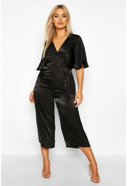 Black Plus Satin Wrap Angel Sleeve Cullotte Jumpsuit