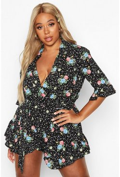 Black Plus Star Floral Ruffle Wrap Tie Playsuit
